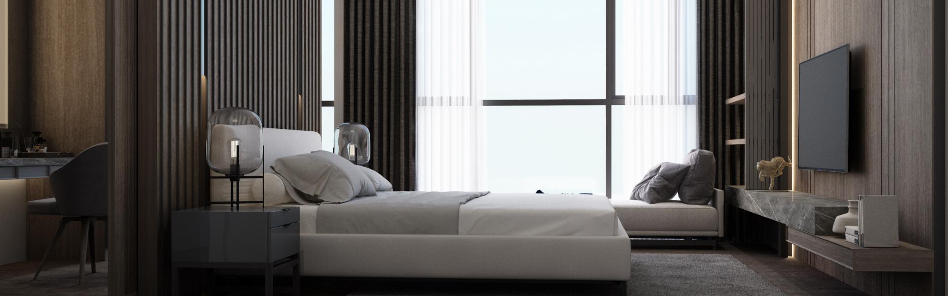 Sypialnia z wysokimi oknami